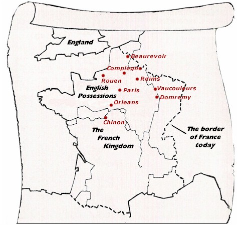 Map of France and England in 1429