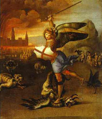 'Saint Michael and the Dragon' by Raphael circa 1505